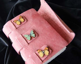 Pink book, hand made, leather covers, gift, birthday, anniversary,