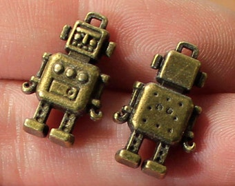 Robot Charms, 3D Charms, Retro Charms, First Robotics, Double Sided Charm, Antique Bronze tone, Charm Lot, Canadian Seller, Ship from Canada