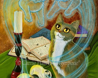 Witch Cat Art Calico Cat Painting Ghost Cats Spell Skull Gothic Fantasy Cat Art Limited Edition Canvas Print 11x14 Cat Lovers Art
