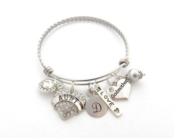 GODMOTHER GIFT, Godmother Bracelet, Gifts for Godmothers, New Aunt Bangle, Godmother Charm, Initial Bracelet, AUNT Jewelry, Aunt Charm