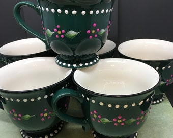 Mugs or Cups Hand Painted Unique One of A Kind Dark Green Off White Interior Stoneware Gift Pink Dot Flowers and White Dot Trim Drinkware