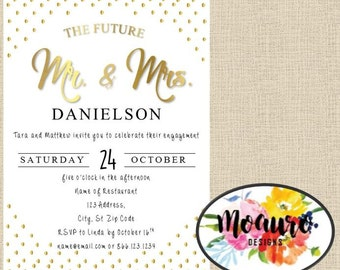 Metallic Engagement Party Invitation