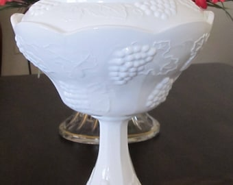 Milk glass covered compote,  grape and leaf pattern