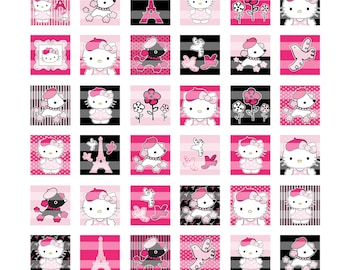 Hello Kitty Bonjour Pink 1 inch Squares Digital Collage Sheet
