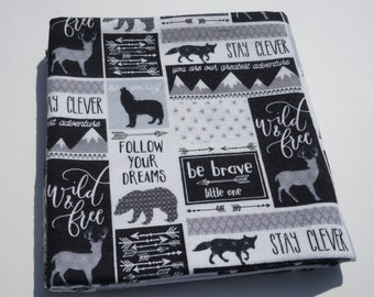 Baby Receiving Blanket, Wilderness Adventure, Black and White Blanket, Follow Your Dreams, Flannel Blanket, Swaddle Blanket, Large Blanket