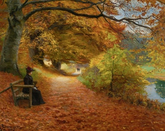 A Wooded Path In Autumn by H. A. Brendekilde, in various sizes, Canvas Giclee Print