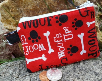 Dog Coin Purse,  Zipper Wallet, Dog Change Purse, Ear Bud Pouch, Vet Gift, credit card pouch