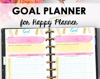 Happy Planner Goal Setting Printable, Goals Tracker, Goal Planner 2018, Happy Planner Inserts, Goals Printable Pages 2018, Instant Download