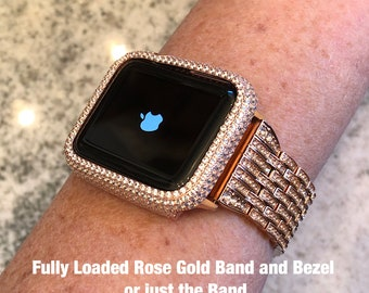 Rose Gold Fully Loaded Apple Watch Band/ Lab Diamond Bezel Sterling Silver High End Luxury Iwatch bling. 38mm/42mm Series  2 or 3