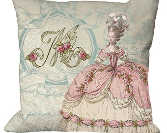New Marie Antoinette Pink Monogram in Choice of 14x14 16x16 18x18 20x20 22x22 24x24 26x26 inch Pillow Cover