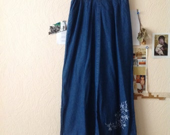 Dark Denim Embroidered Maxi Skirt Ankle Length Denim Skirt Medium