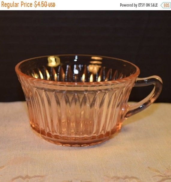 Delayed Shipping Pink Depression Glass Queen Mary Cup Vintage Anchor Hocking Pink Teacup Coffee Cup Shabby Chic Serving Ware Replacement Gla