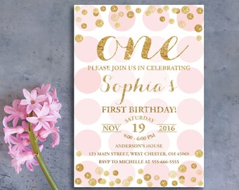 1st Birthday Invitation Girl, First Birthday, Birthday Party Invites, Baby Girl Bday, Pink Gold Invite, Gold Glitter, Watercolor Invites