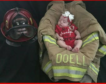 Baby GIRL Fireman Onsie Daddy is my HERO Grandpa is a fireman HERO with matching bow and ruffles