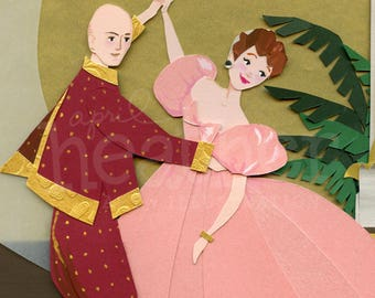 The King and I Cut Paper Illustration, Art Print