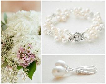 Wedding Jewelry SET, Bridal Pearl Jewellery SET, Wedding Jewelry SET, Bridal Earring and Bracelet Set