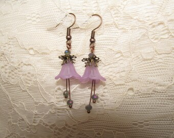 Forest flower earrings purple and copper
