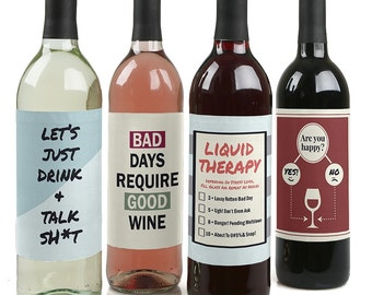 Liquid Therapy - Rough Day Wine Bottle Labels - Set of 4