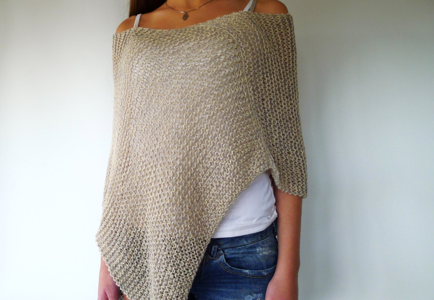 Wonderful Grey knit summer poncho. Loose knit poncho. Long slouchy top. YI26