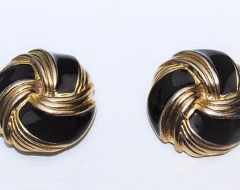 Vintage BLUETTE France Made Knot Design Gold Tone Black Enamel Dress Shoe Clips