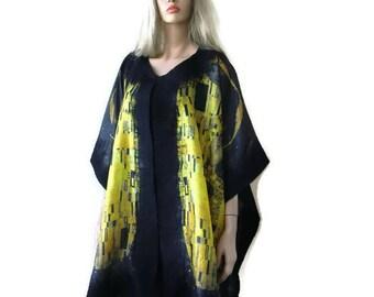 Black and gold art print  Nuno Felt and silk Poncho ,Kimono,ruana ,wrap- Amazing opera top in my beloved Kimono style-Only one available