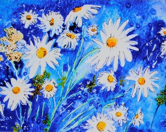 Watercolour Print, Daisies Print, Print of Original Painting, Giclee