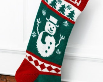 Wool Christmas Stocking Frosty Snowman (Personalized)