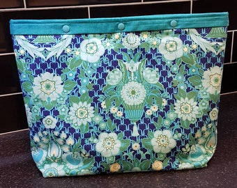 Teal & Blue Floral Medium Project Bag - Knitting - Crochet