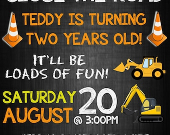 Construction theme Invite Invitation for Birthday Party
