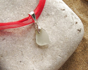 Sea Glass Necklace, Blue White Genuine Seaglass Pendant, Red Ribbon Pendant, Boho Seaglass Jewelry, Gift Ideas, Gift for Her, Friend Gift