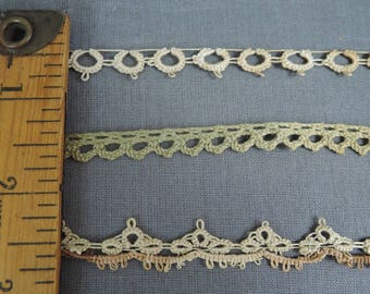 Vintage Handmade Crochet Lace Trim Lot 3 styles, Narrow Antique Cotton Laces, 2, 8 and 14 yards