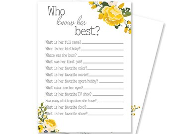 Who Knows Her Best Printable Bridal Shower Game | Who Knows the Bride | Yellow Floral Bridal Shower Decoration | Adelaide Collection