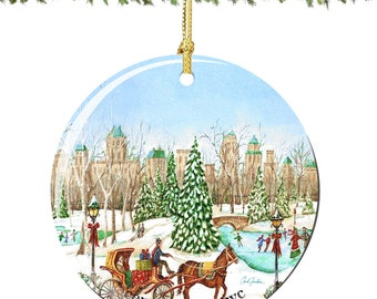 Chuck Fischer, Central Park Christmas Ornament in Porcelain Featuring NYC Skyline, Skating Rink, and Horse Drawn Carriage