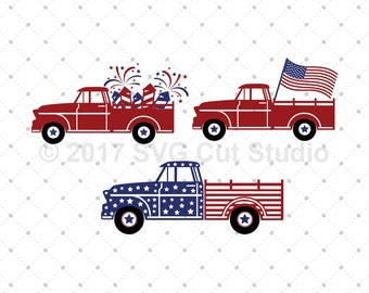 4th of July Truck SVG, Truck SVG, American Truck svg, Patriotic Old Truck, American Flag Truck svg Files for Cricut, Silhouette, svg files