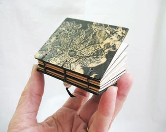 Lace black book, unique book, gift for a book lover, mixed media OOAK gift box, black and tan, handmade blank notebook
