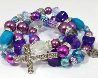 Purple Beaded Bracelets,Cross Bracelets, Bracelet, Stretch Bracelets, Bracelet Stack,Purple, Blue ,Handmade, Custom, Beaded Jewelry