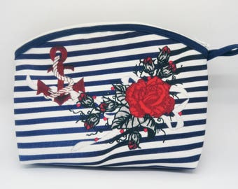 Toilet bag sailor, Navy anchor and flowers