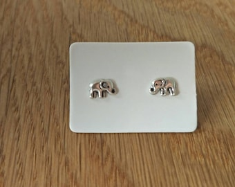 Sterling Silver Elephant Studs/Petite Sterling Silver Studs/Gift Earrings/ Elephant earrings/Mothers Day/Silver Elephant Studs