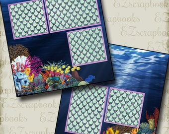 SEA WITCH Inspired - 2 Premade Scrapbook Pages - EZ Layout 2878