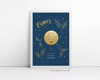 Cancer, zodiac art print, star sign, astrology gifts, birthday gift