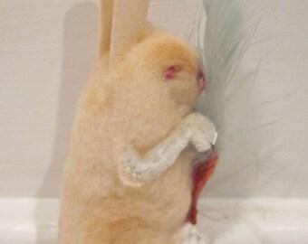 Vintage Made in Japan Cotton Rabbit Easter Basket Toy Decoration