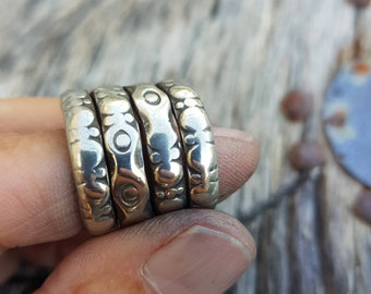 Old silver coil ring, tribal ring, gypsy jewelry