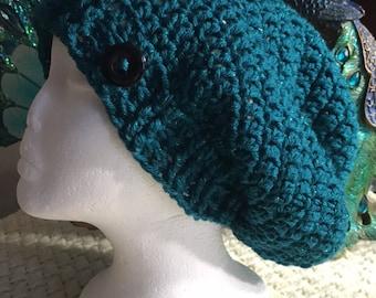 Crocheted Teal Slouch Beanie