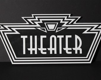 Theater Sign © - Wood Carved 3-D Art Deco Home Theater Sign Cinema Wooden Plaque Large