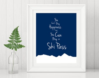 Ski Pass Art ~ Ski Art Print ~ Snowboard Art ~ Gifts for Skiers ~ Gift for Snowboarder ~ Skiing Art ~ Skiing Gift ~ Snowboarding Gifts