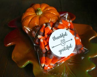 """Thanksgiving favors, 2"""" round stickers, add clear bags, set of 20, Thankful & Grateful, Matte white or Kraft brown, place settings, thanks"""
