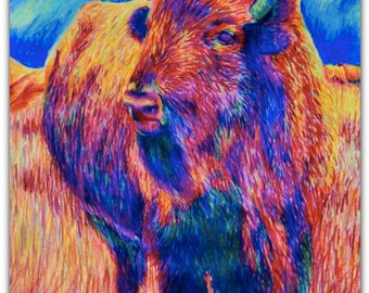 "Bison in Technicolor 8""x10"" Canvas Print"