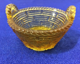 Small Amber Glass Basket