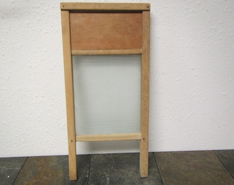 Wood and Glass Washboard * Natural wood with all printing worn off