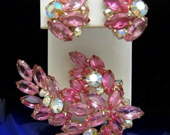 Stunning Vintage Rhinestone Large Brooch Earring Set Pink AB